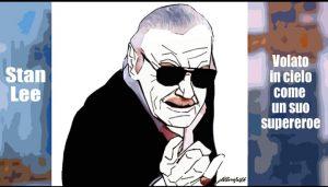 caricatura fumetto di Stan lee padre degli eroi tristi
